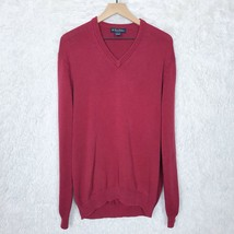 Brooks Brothers Pima Cotton Sweater Red V Neck Pullover Ribbed VTG Mens ... - $24.74