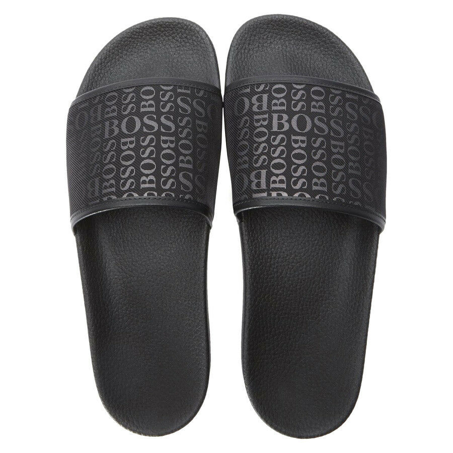 Hugo Boss Men's Slip On Graphic Solar Logo 2 Slider Sandals 50401863 Black