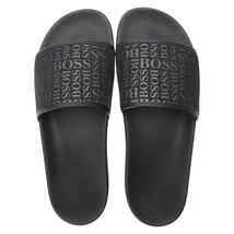 Hugo Boss Men's Slip On Graphic Solar Logo 2 Slider Sandals 50401863 Black image 1