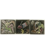 Three Vintage Warner Prins Ceramic Pottery Tiles, Abstract, Signed - $28.40