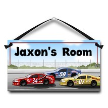 "Race Cars Stock Car, Door Sign, 5.5"" x 10.5"", Kids Personalized Name Plaque - $13.00"