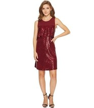 Womens Flounce Red Sequin Dress Fit and Flare by Kensie Size Medium - $14.52