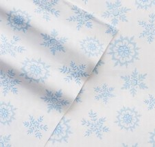 NEW! Cuddl Duds Flannel Sheets Set TWIN Blue Snowflakes Snow Cotton Warm... - $44.54