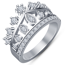 14k White Gold Plated 925 Silver Sim Diamond Womens Princess Crown Band Ring   - $81.99