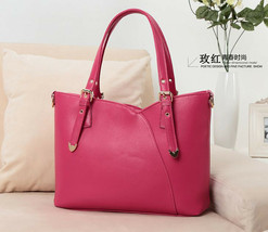 Ladies office Tote Style handbag shoulder bag (Rose Red) - $26.99