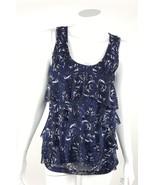 New York & Company Womens Size XS Black Blue White Abstract Ruffle Blous... - $13.09
