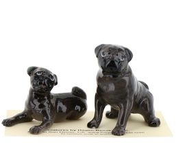 Hagen Renaker Dogs Pug Mama and Baby Black Ceramic Figurine image 3