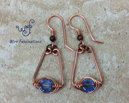 Handmade copper earrings: harringbone wire wrapped medium blue crystal eyes - $27.00