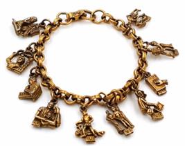 Coro Bracelet  Vintage Ten Commandments Charms Published Book Piece Christianity - $49.00