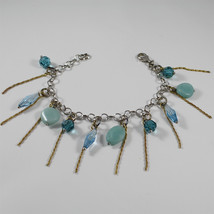 Bracelet in Sterling Silver 925 Rhodium, Gold Plated, Quartz and Blue Crystals - $91.63