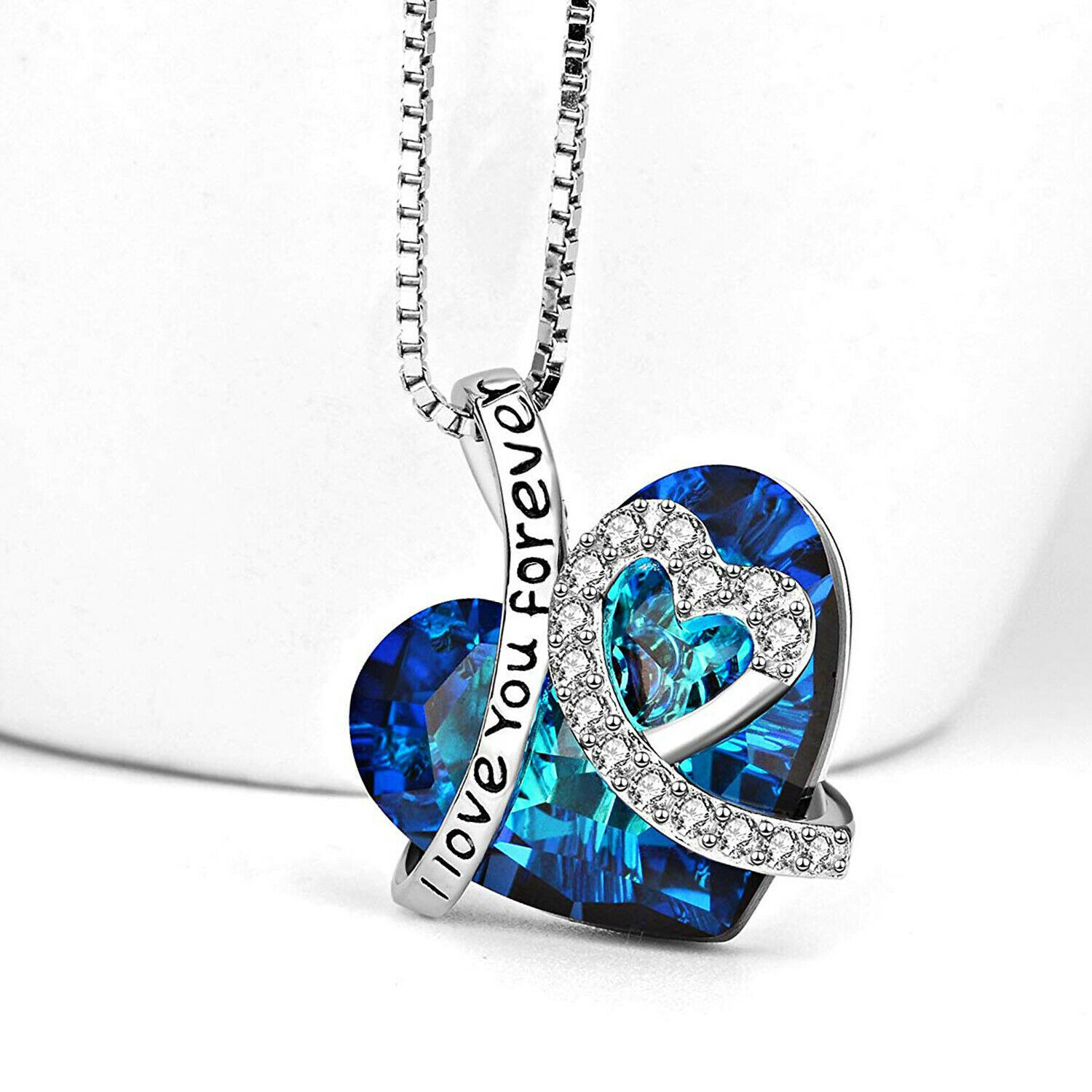 Sterling Silver Necklace *BERMUDA BLUE* 10-28mm Heart Crystals from Swarovski®