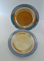 Peach and Blue Luster Ware Luncheon Salad Plates Lot of Two Made in Japan - $14.73
