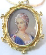 K18 Gold Marie Antoinette Hand Painted Portrait Brooch Pendant 14K Chain... - $989.99