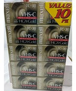 Maxell VHS-C Camcorder HGX-Gold TC-30 Videotapes 10 Pk Tapes - $53.95