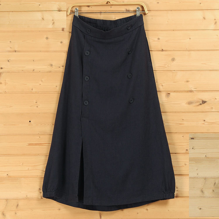 Boho linen skirt button 2