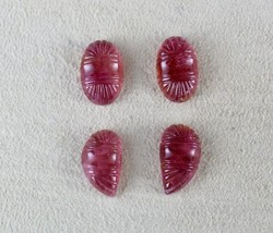 NATURAL PINK TOURMALINE RUBELLITE CARVED 4 PCS 21.26 CARATS GEMSTONE FOR... - $251.75