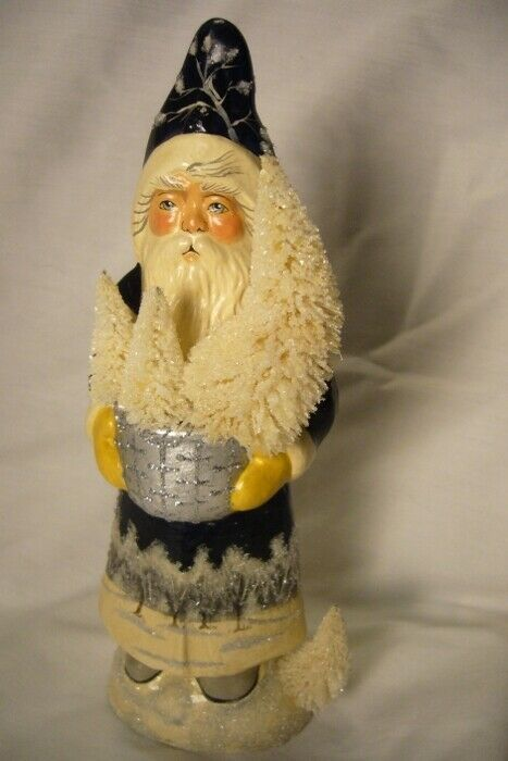 Vaillancourt Folk Art Blue Santa w/Silver Bowl Winter