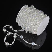 DIY 50ft 15M Round Acrylic Crystal  Beads Strand Door Patio Porch Decoration - $15.09