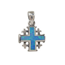925 Sterling Silver Jerusalem Cross Pendant Blue Opal Jewelry with Certi... - $26.09