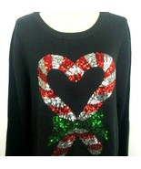 Karen Scott Womens XL Black Holiday Ugly Christmas Sweater Candy Cane Se... - $49.49
