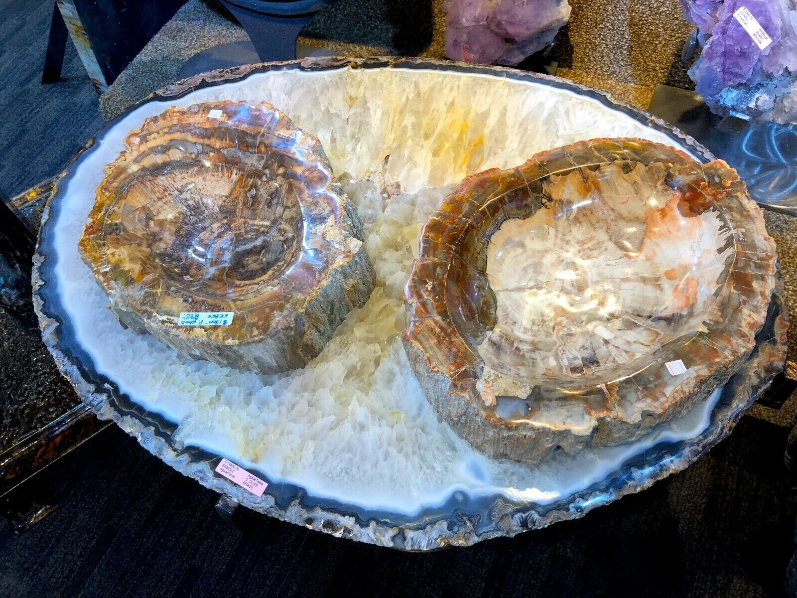 AGATE CRYSTAL TABLE HOME DECOR MINERAL DISPLAY PIRATE GOLD COINS EARTH TREASURES