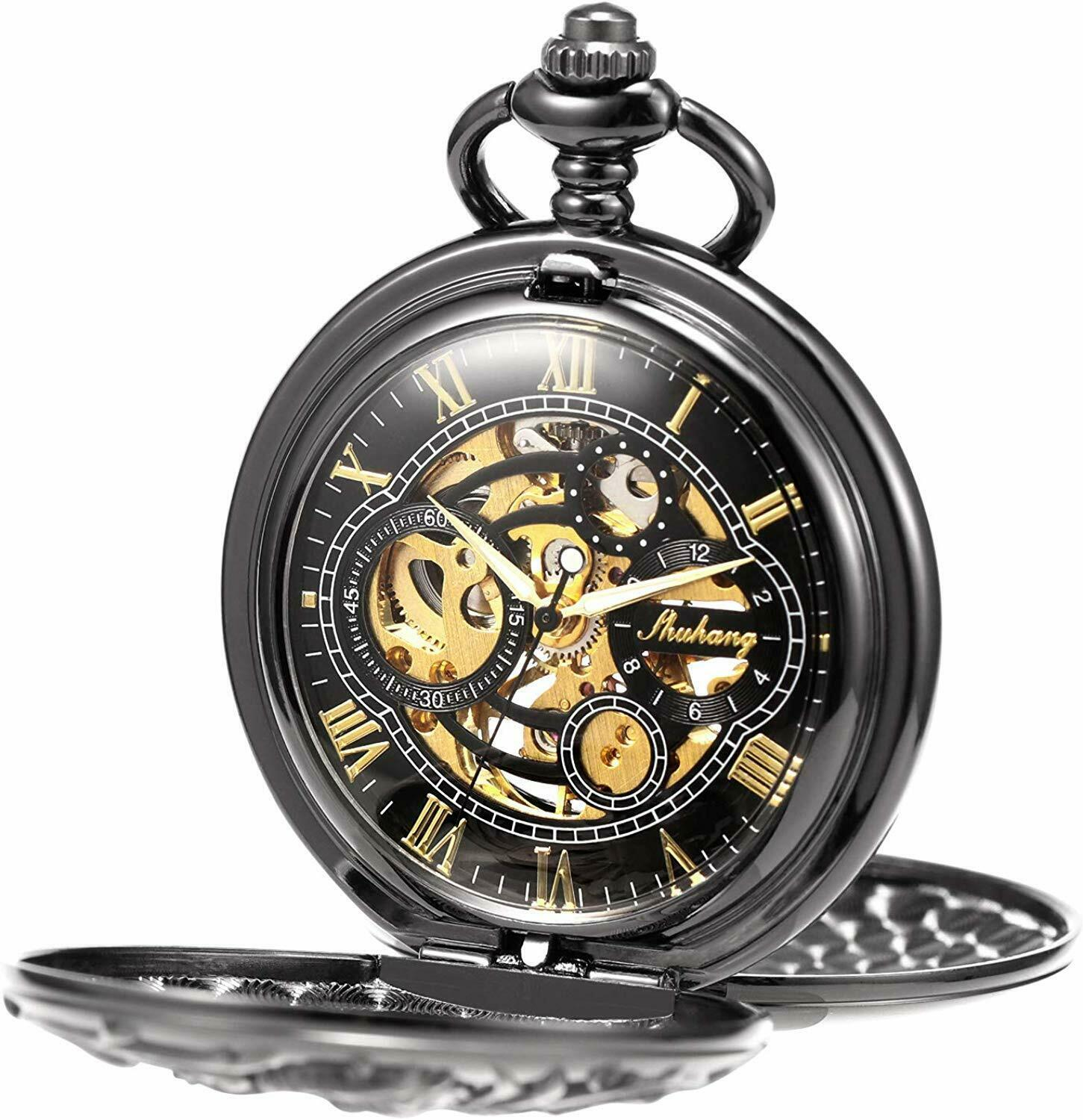 Primary image for Antique Dragon Mechanical Skeleton Pocket Watch with Chain