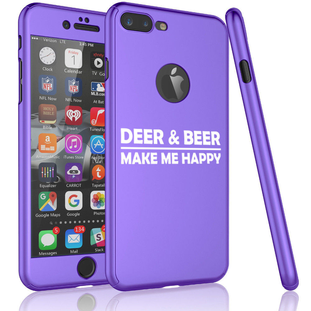 For iPhone 360° Thin Slim Case Cover +Screen Protector Deer & Beer Make Me Happy