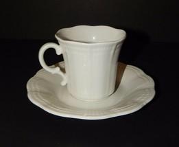Mikasa Allura White DH900 Coffee Tea Cup and Saucer New Scalloped Edge - $21.78