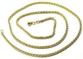 9K YELLOW GOLD CHAIN SPIGA EAR ROPE LINKS 2.5 MM THICKNESS, 24 INCHES, 60 CM image 1