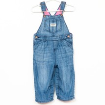 OshKosh BGosh Lined Vestbak Bib Overalls 18 Mo Pink Fleece Long Pants Blue - $23.65
