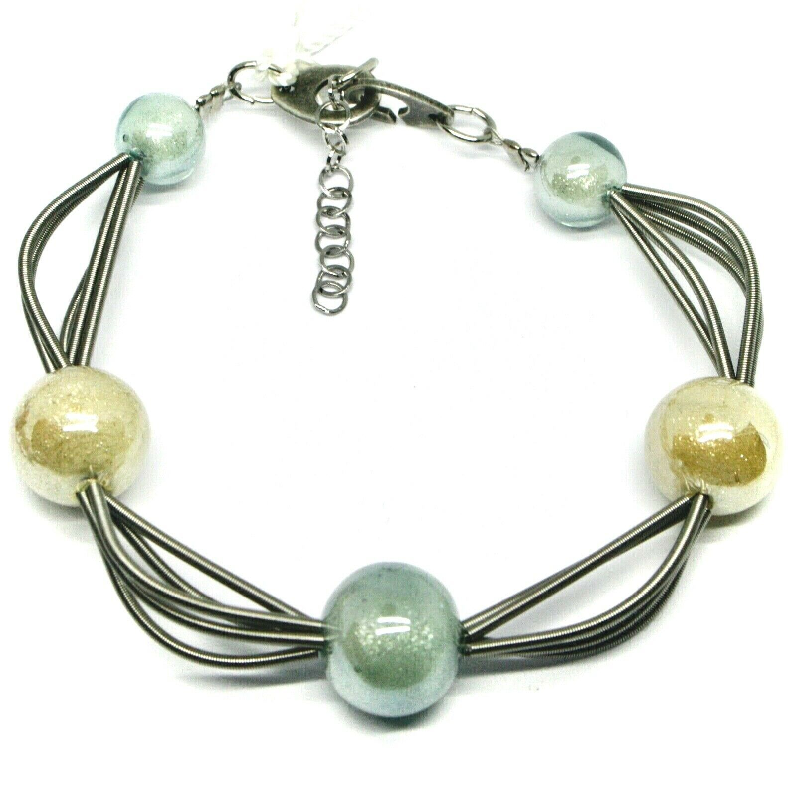 """MULTI WIRES BRACELET BLUE YELLOW SPHERES MURANO GLASS, 20cm 7.9"""", ITALY MADE"""
