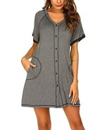 Ekouaer Button Down Nightgown Loungewear Short Sleeve House Coat with Po... - $22.66