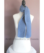 Blue 50 Inch Scarf Childrens Boys Girls Handknit Ribbed Scarf - $21.00