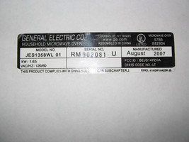 General Electric Household Microwave Oven Parts, Model # JES1358WL 01 - $34.99