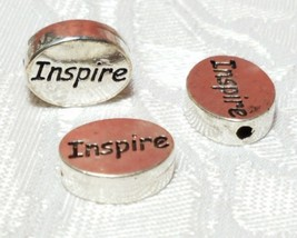 INSPIRE Word FINE PEWTER Oval DISC BEAD - 11mm L x 9mm W x 3mm D Hole 1.5m