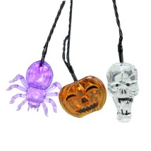 Set of 90 Battery Operated Skull Spider Jack-o-Lantern LED Lights - Blac... - $53.20