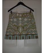 J.CREW Trastevere Paisley Skirt Blue Green Button Front A-Line #90969 - $23.09