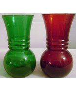 Vintage Anchor Hocking Red & Green Flower Vases - $12.00