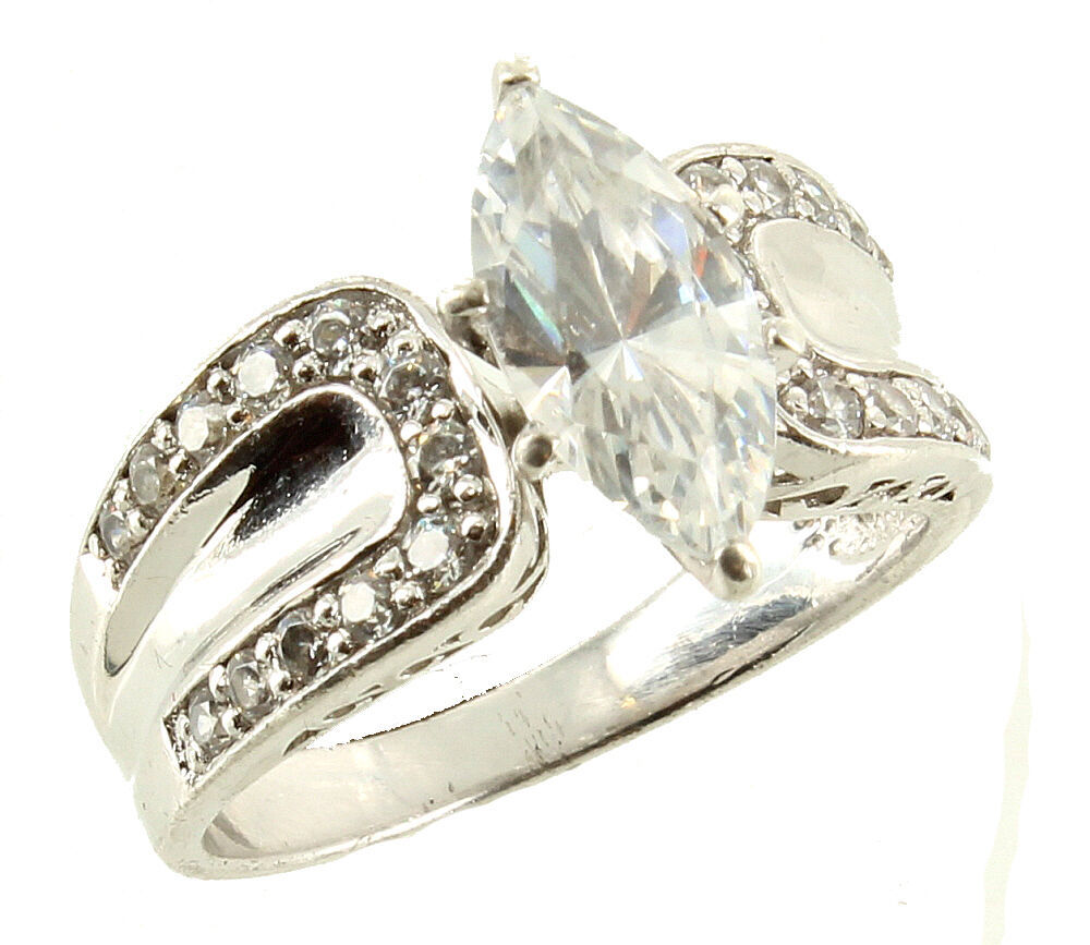 Primary image for Vintage Fabulous Fake Sterling Cubic Zirconium Marquise Chips Ring Size 8.5