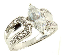 Vintage Fabulous Fake Sterling Cubic Zirconium Marquise Chips Ring Size 8.5 - $87.74