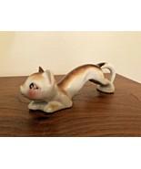 Vintage Slinking Cat Figurine, Japan, Mid Century Kitsch Hand Painted Ki... - $17.50