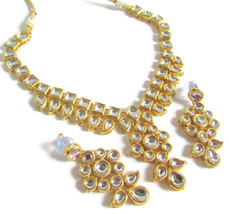 Ethnic Indian Fashion jewellery Polki kundan wedding necklace earring ne... - $11.80