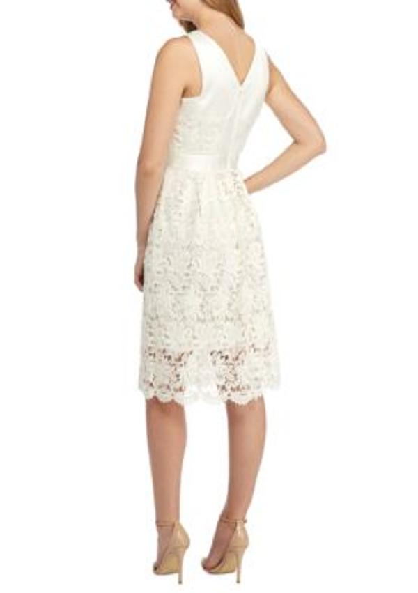 NWT ANNE KLEIN WHITE LACE FLARE DRESS SIZE 14 $139