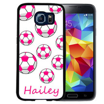PERSONALIZED RUBBER CASE FOR SAMSUNG S9 S8 S7 S6 S5 PLUS PINK WHITE SOCC... - $13.98