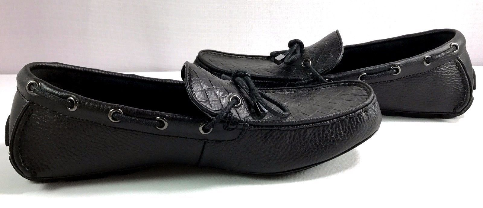 65b209c194a Mens Alfani Warren Black Leather Driver Loafers Size 10 M Slip On Shoes