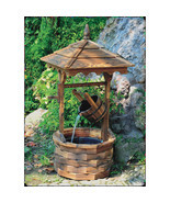 Wishing Well Outdoor Fountain Rustic Chinese Fir Wood Leakproof Liner w/... - $296.08