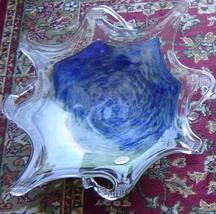 1950s Vetro Eseguito Murano Centerpiece Glass Bowl GREEN/BLUE Made In Italy New - $549.50
