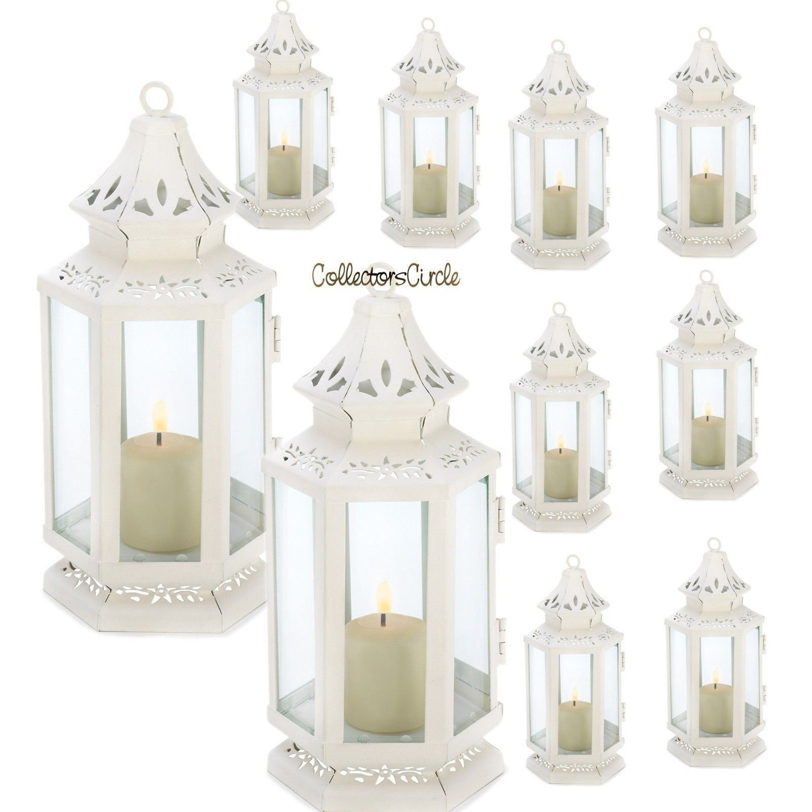 "Lot of 10 White Small Victorian Candle Lanterns Wedding Centerpieces 8"" H"