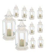 """Lot of 10 White Small Victorian Candle Lanterns Wedding Centerpieces 8"""" H - $100.99"""