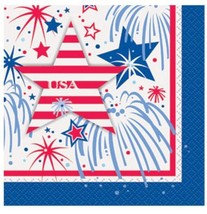 USA Fireworks July 4th 16 Ct Beverage Napkins Memorial Veterans Day - £2.79 GBP